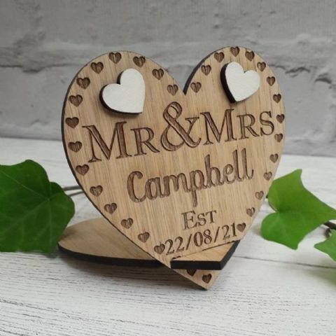 Mr and Mrs Established Wooden Heart Decoration Freestanding, Wedding Day Gift